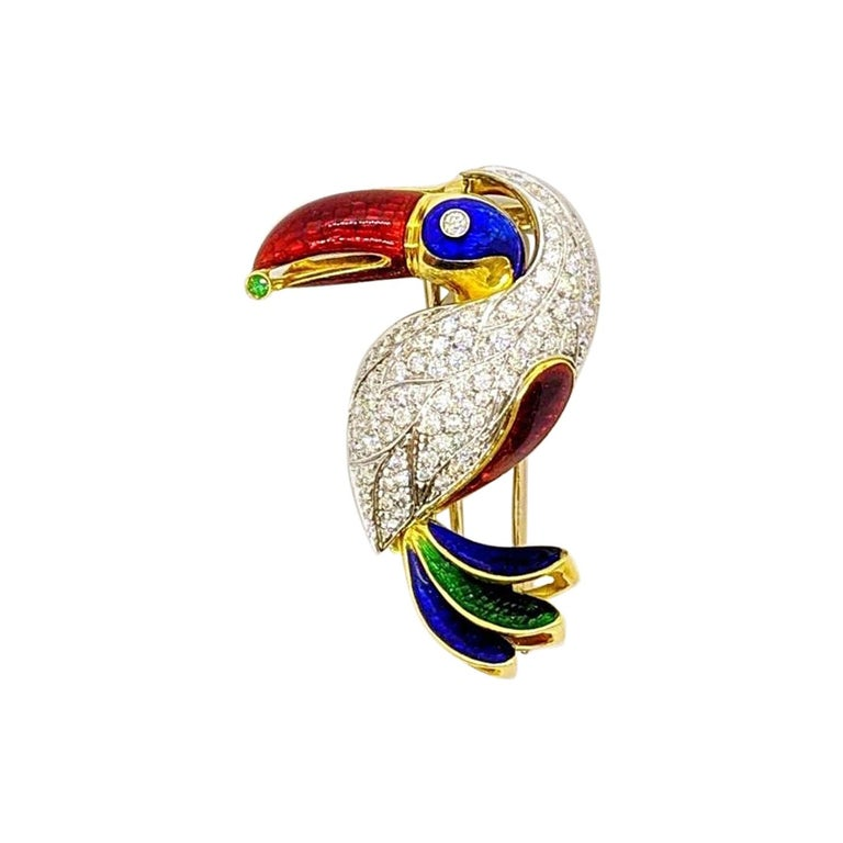 18KT Yellow & White Gold Toucan Brooch with 2.18 Carat Diamonds & Colored Enamel For Sale