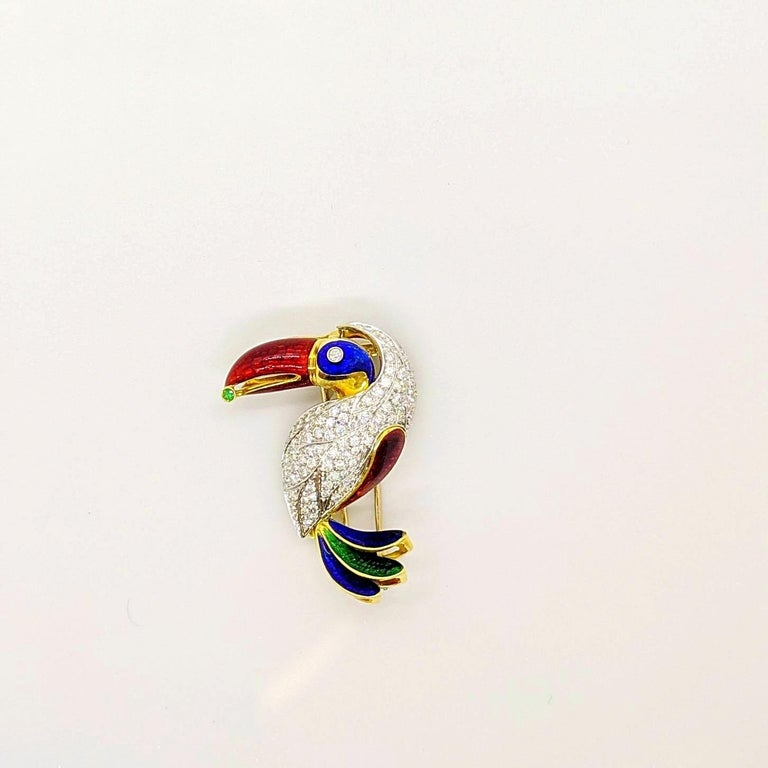 Contemporary 18KT Yellow & White Gold Toucan Brooch with 2.18 Carat Diamonds & Colored Enamel For Sale
