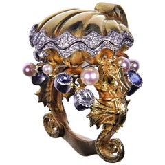 18kt Yellow White & Rose Seahorse Chamber Ring with Pearls, Sapphires, Diamonds