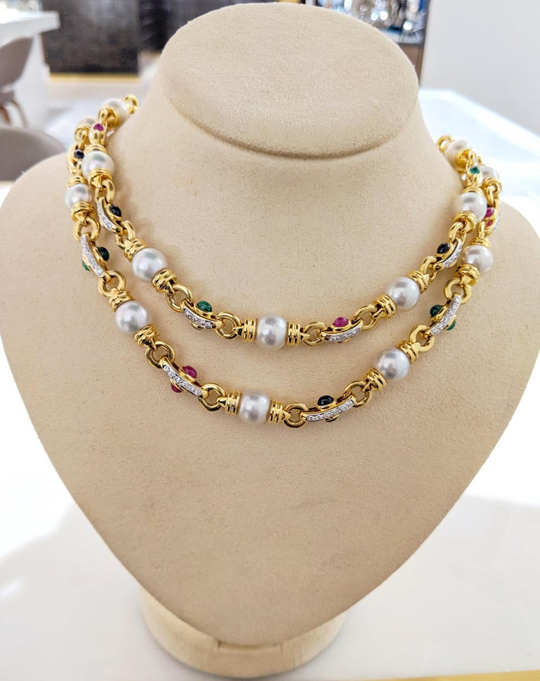 Retro 18 Karat Gold Double Strand Necklace with Diamonds Pearls and Colored Gem Stones For Sale