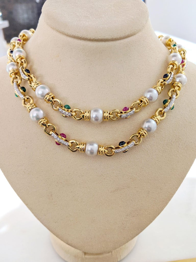 Round Cut 18 Karat Gold Double Strand Necklace with Diamonds Pearls and Colored Gem Stones For Sale