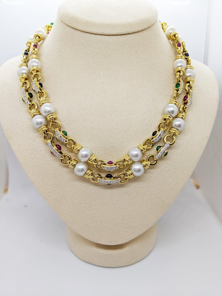 18 Karat Gold Double Strand Necklace with Diamonds Pearls and Colored Gem Stones In New Condition For Sale In New York, NY