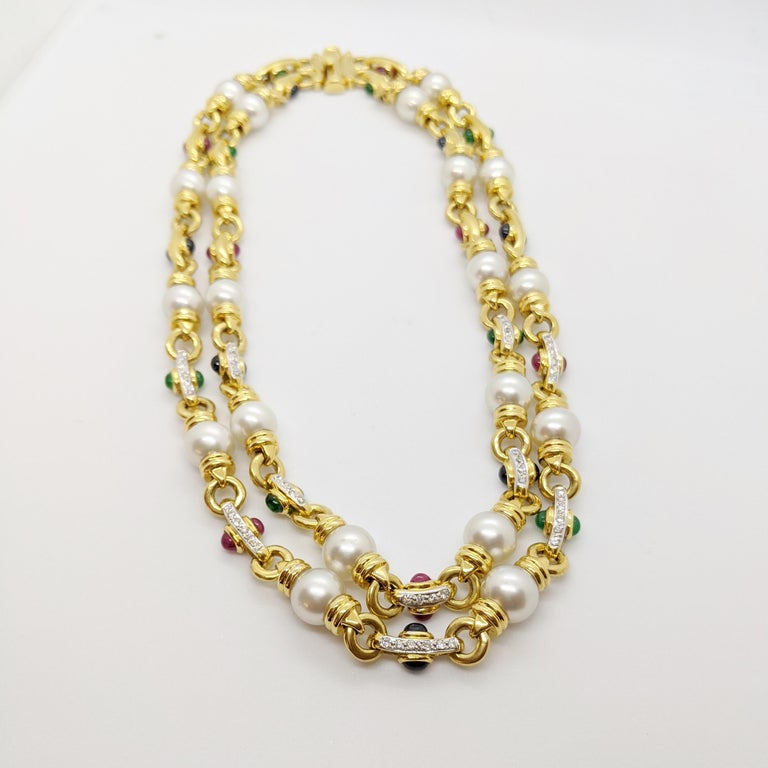 Women's or Men's 18 Karat Gold Double Strand Necklace with Diamonds Pearls and Colored Gem Stones For Sale