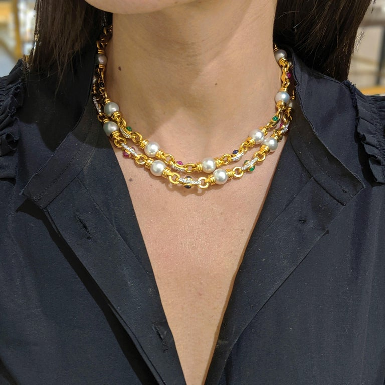 18 Karat Gold Double Strand Necklace with Diamonds Pearls and Colored Gem Stones For Sale 1