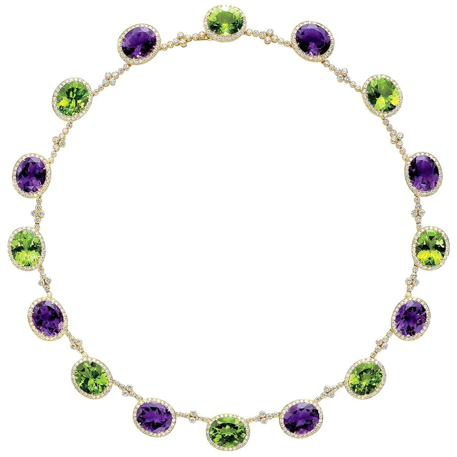 18KT YG Necklace with Diamond 8.25CT's, Amethyst 32.54Ct., Peridot 37.07Ct.
