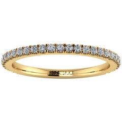 18 Karat Thin Yellow Gold Diamonds Pavé Stackable Band Ring