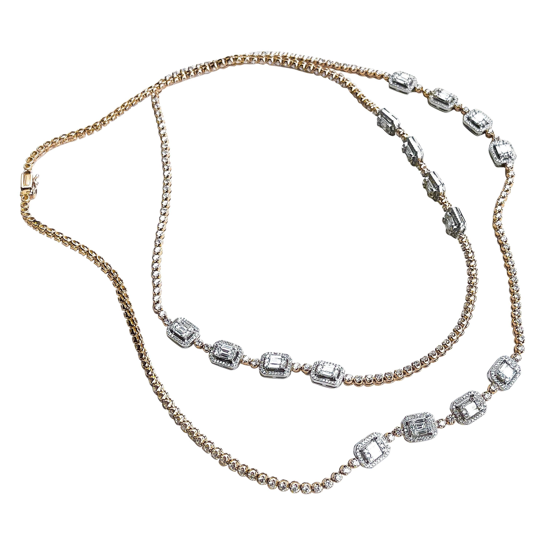 18KTT D-9.93 G-H SI1-SI2 Natural Diamond Necklace