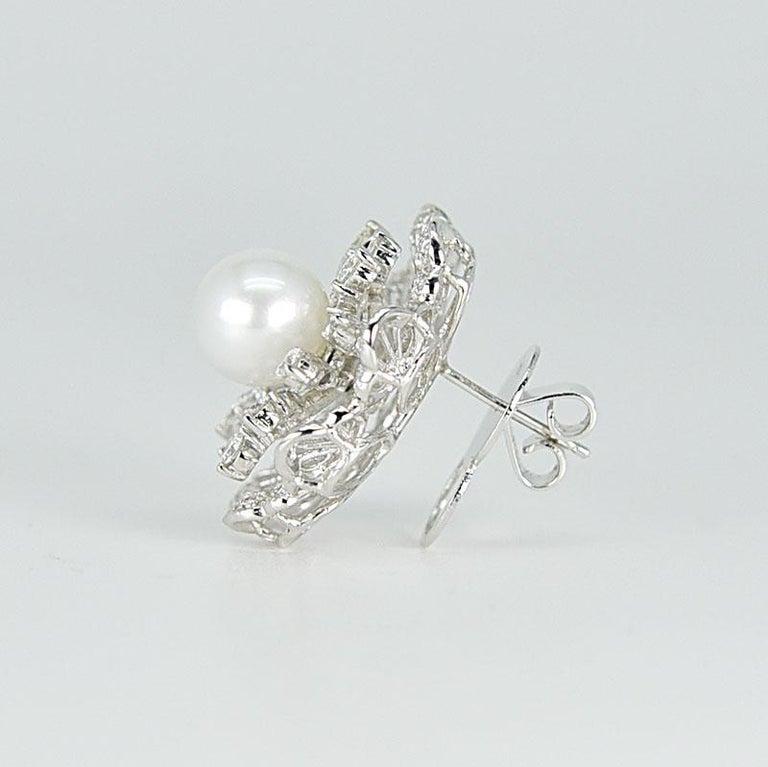 Victorian 18 Karat White Gold South Sea Pearl Diamond Earrings For Sale