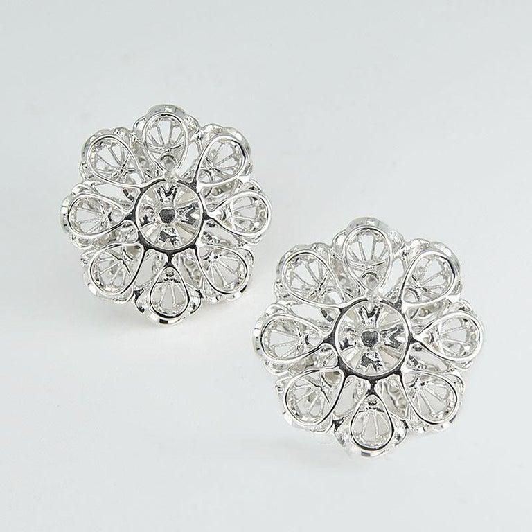 Round Cut 18 Karat White Gold South Sea Pearl Diamond Earrings For Sale