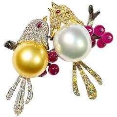 18 Karat White Yellow Pearl Ruby and Diamond Love Bird Brooch