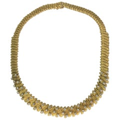 18KY Diamond Textured Necklace