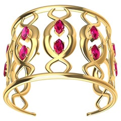 18ky Double Arabesque Cuff Bracelet with Rubies
