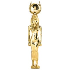 18 Karat Yellow Gold Egyptian Goddess Hathor Large Pendant Figurine