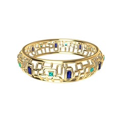 "18 Karat Yellow Gold Sapphire and Aquamarine Bracelet ""Water and Light"""