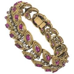 18 Karat Yellow Ruby Diamond Bracelet
