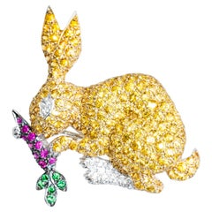 18 Karat Yellow Sapphire Diamond Ruby Tsavorite Bunny Rabbit Brooch
