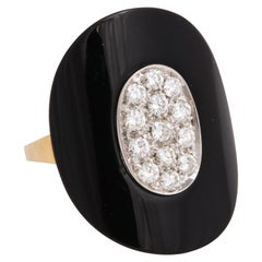 18 Karat Yellow Gold, Onyx and Diamond Cocktail Ring