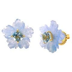 18mm Carved Blue Quartzite Flower and Cushion Blue Topaz Vermeil Earrings
