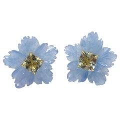 18mm Carved Blue Quartzite Flower and Cushion prasiolite Vermeil Earrings