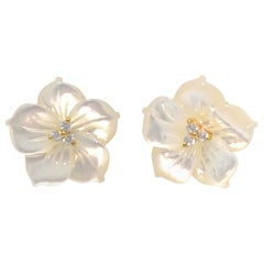 18mm Carved Mother of Pearl Flower Vermeil Earrings