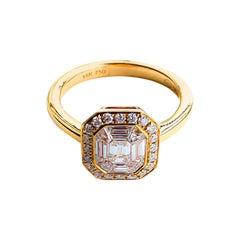 18PK D-0.90 G-H SI1-SI2 IB Natural Diamond Ring