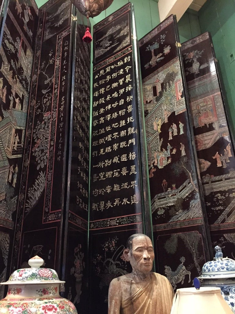 12-Panel Coromandel Chinese Screen Wall Art Backdrop Wall Mount Panels carved LA For Sale 6