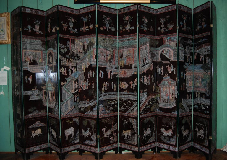 Chinese Export 12-Panel Coromandel Chinese Screen Wall Art Backdrop Wall Mount Panels carved LA For Sale