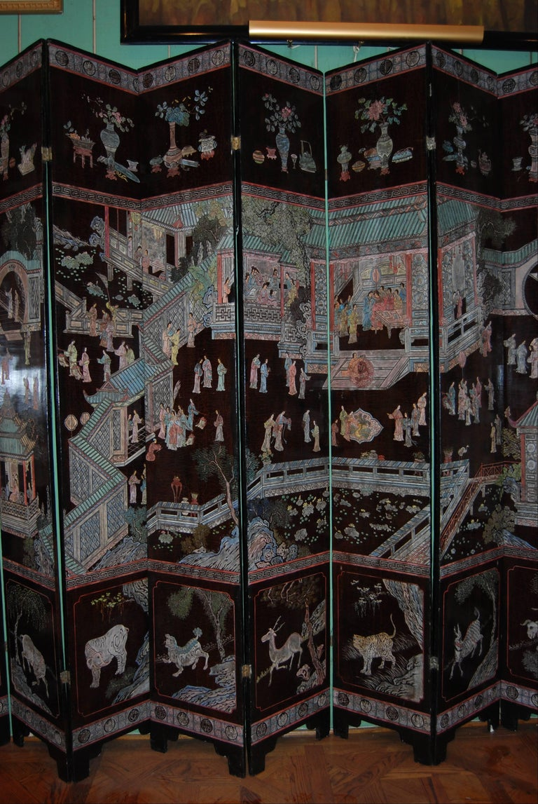 Hand-Carved 12-Panel Coromandel Chinese Screen Wall Art Backdrop Wall Mount Panels carved LA For Sale