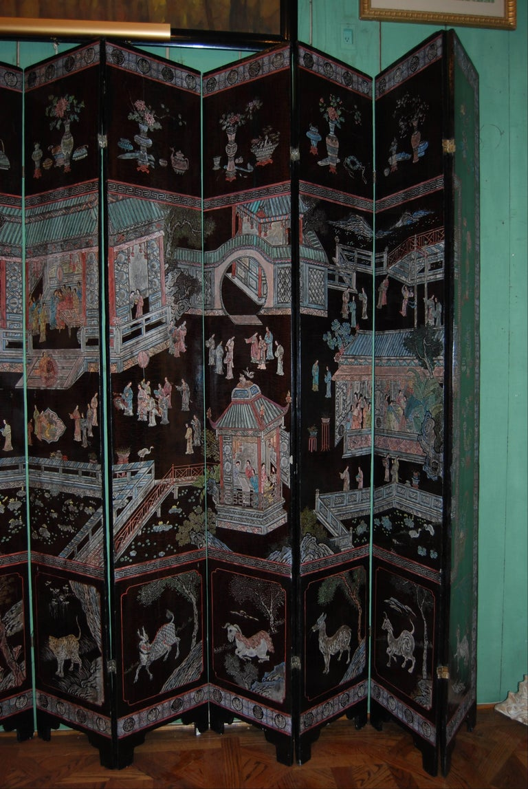 12-Panel Coromandel Chinese Screen Wall Art Backdrop Wall Mount Panels carved LA In Good Condition For Sale In West Hollywood, CA