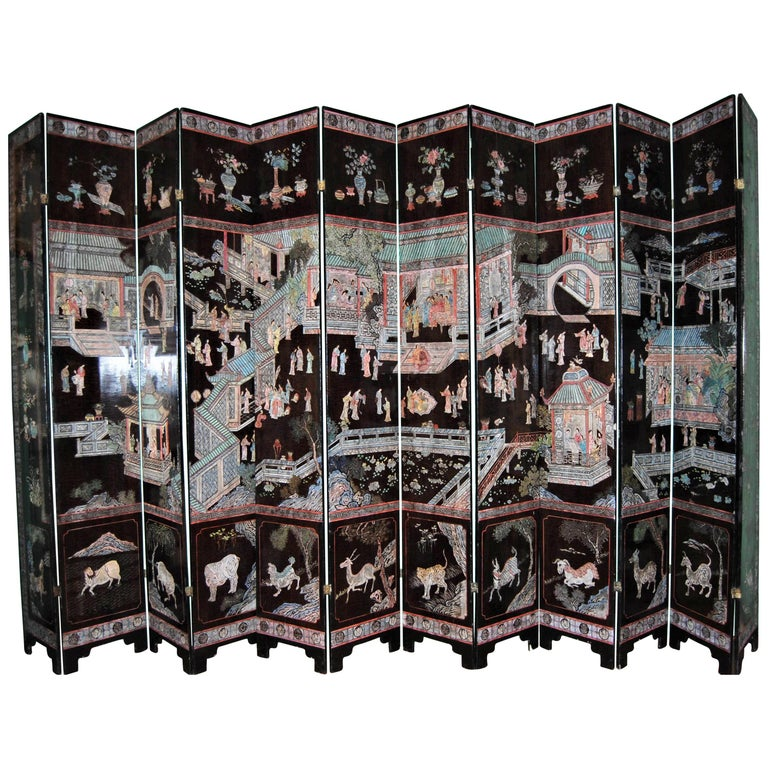 12-Panel Coromandel Chinese Screen Wall Art Backdrop Wall Mount Panels carved LA For Sale