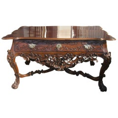 18th C. Portuguese Grand carved Hardwood Library Table Entry center Antiques LA