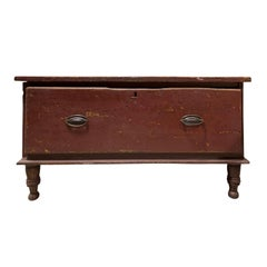 18th-19th Century American Single-Drawer Storage Box with Old Red Paint