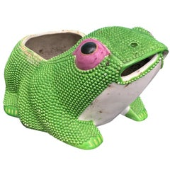 18th-19th Century Antique Chinese Green Frog Planter