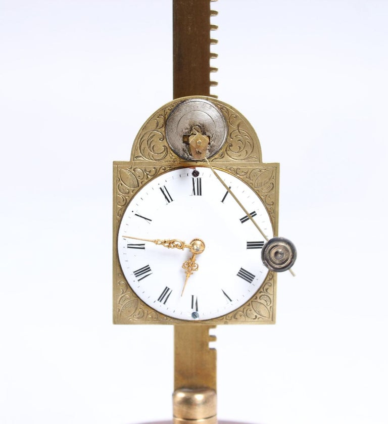 Brass 18th-19th Century Antique Saw Clock, Southern Germany For Sale