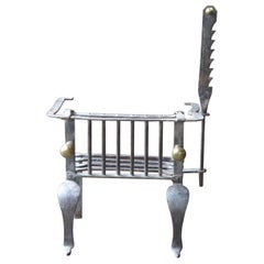 18th-19th Century Belgian Neoclassical Fireplace Grate or Fire Basket