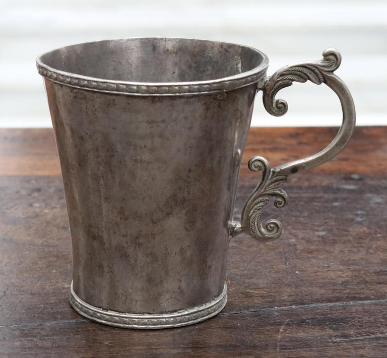 18th-19th century Bolivian silver cup with handle.   Total silver by weight: 230.60 g.
