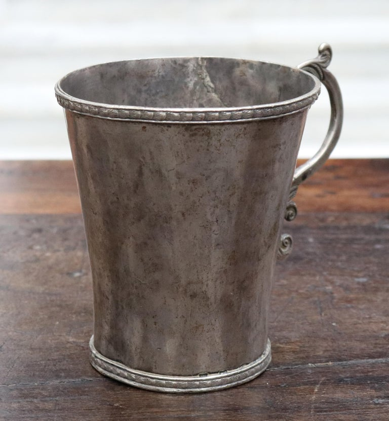 18th Century 18th-19th Century Bolivian Silver Cup with Handle For Sale