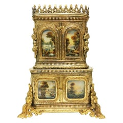 18th-19th Century Bronze Fire Gilded Miniature Secretary, Sewing Cabinet