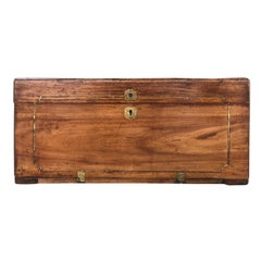 18th-19th Century Camphor Wood Trunk with Brass Inlay