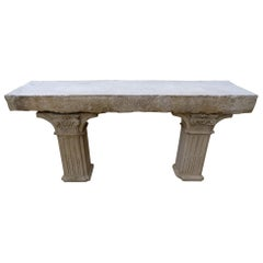 18th-19th Century Carved Stone Antique Garden Console Outdoor Indoor Table