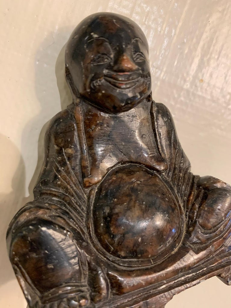 Hand-Carved 18th-19th Century Carved Stone Buddha For Sale