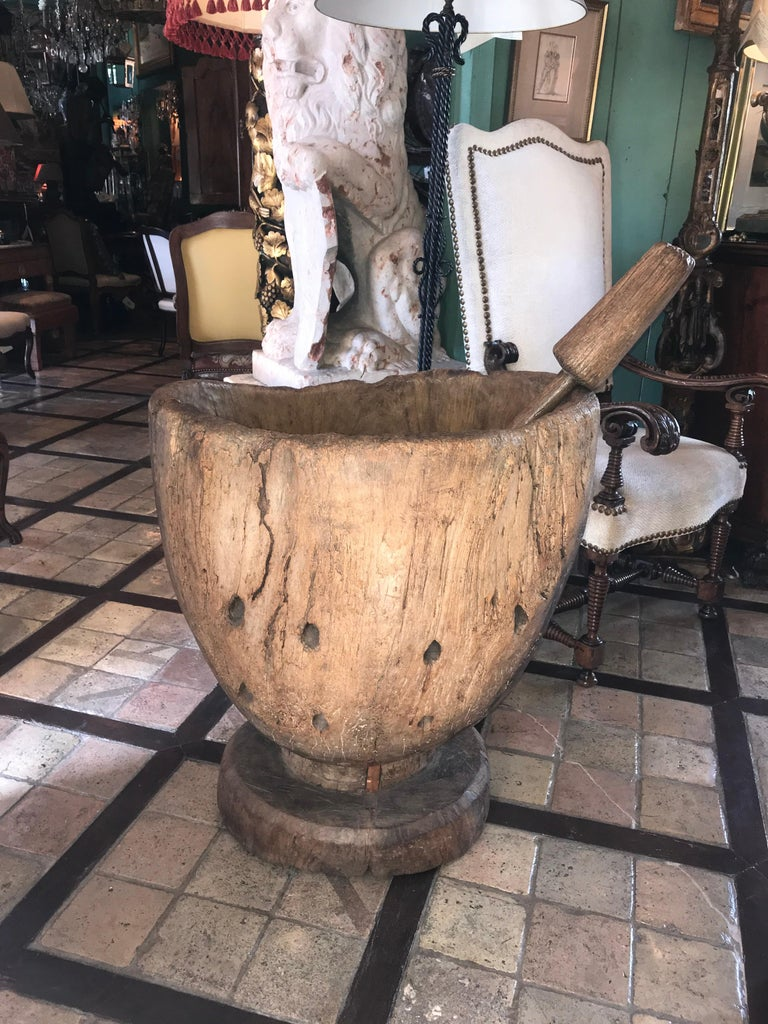 18th-19th century carved wood large size mortar and pestle for the corn.