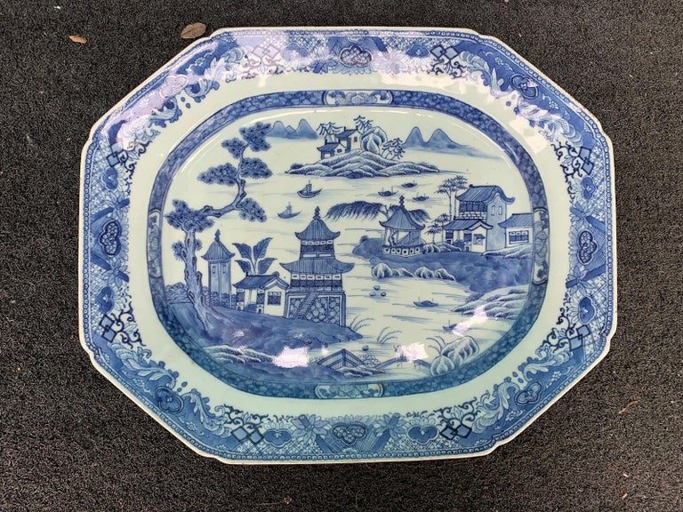 18th-19th century Chinese canton blue and white charger.
