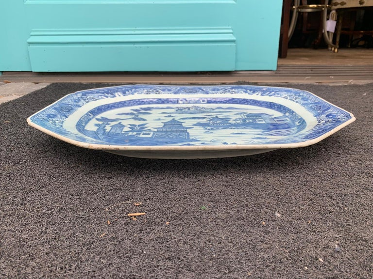 Porcelain 18th-19th Century Chinese Canton Blue and White Charger For Sale