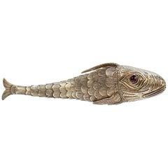 18th-19th Century Continental Articulated Fish Form Silver Vinaigrette Box