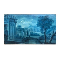 18th-19th Century Continental Monochromatic Blue Painting