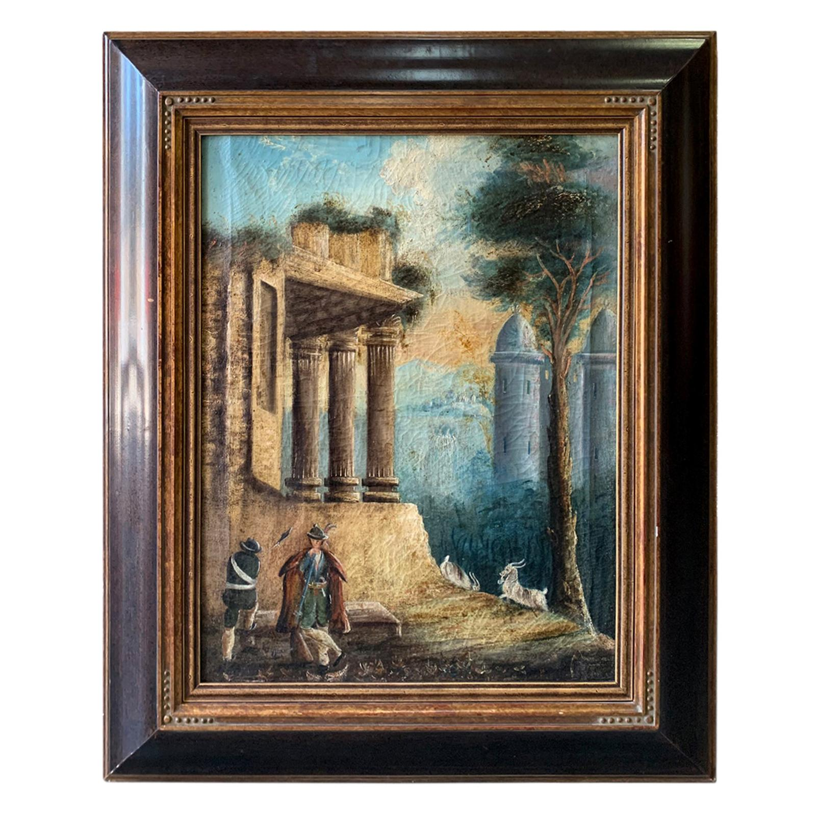 18th-19th Century Continental Oil Painting of Ruins, Unsigned