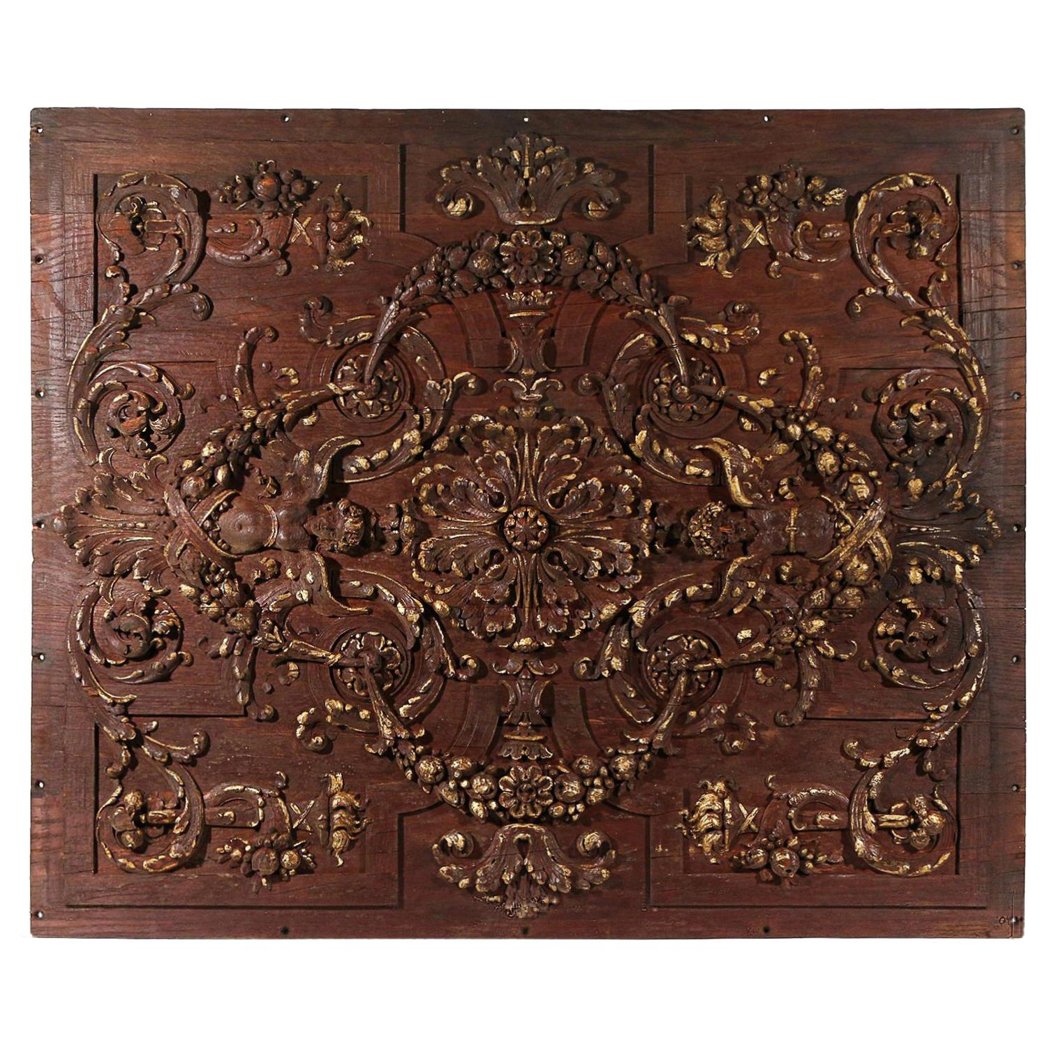 18th-19th Century Dark-Brown Italian Walnut Rococo Carved Wall, Ceiling Panel