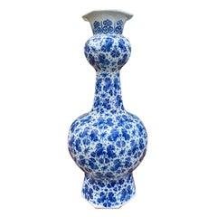 18th-19th Century Delft Blue & White Vase, Unmarked