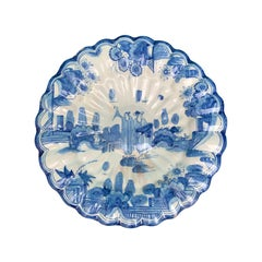 18th-19th Century Dutch Delft Blue and White Plate with Scalloped Edge, Unmarked
